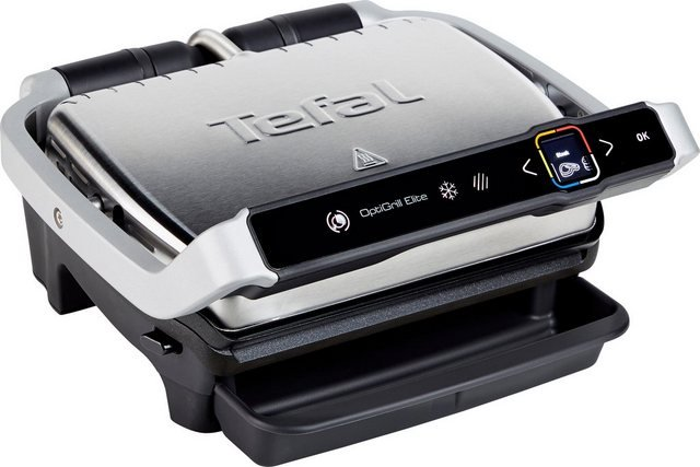 Tefal Kontaktgrill GC750D OptiGrill Elite, 2000 W, sekundengenauer Timer, Digital-Display, Grillboost Funktion