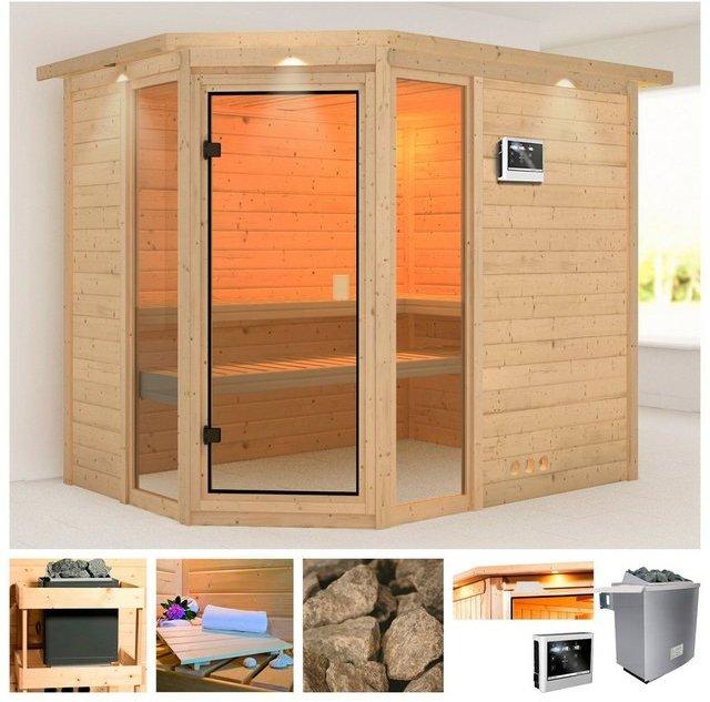 KARIBU Sauna »Sinai 3«, 264x198x212 cm, 9 kW Ofen mit ext. Steuerung, Dachkranz