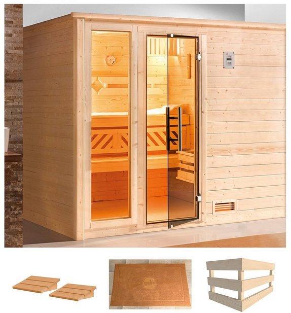 WEKA Sauna »Bergen 3«, 248x198x204 cm, ohne Ofen, Glastür und Fenster