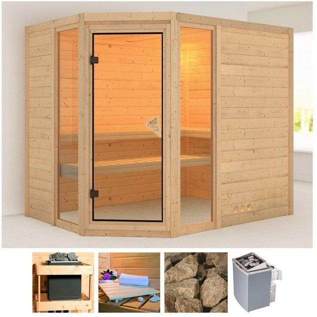 KARIBU Sauna »Sinai 3«, 236x184x208 cm, 9 kW Ofen mit int. Steuerung