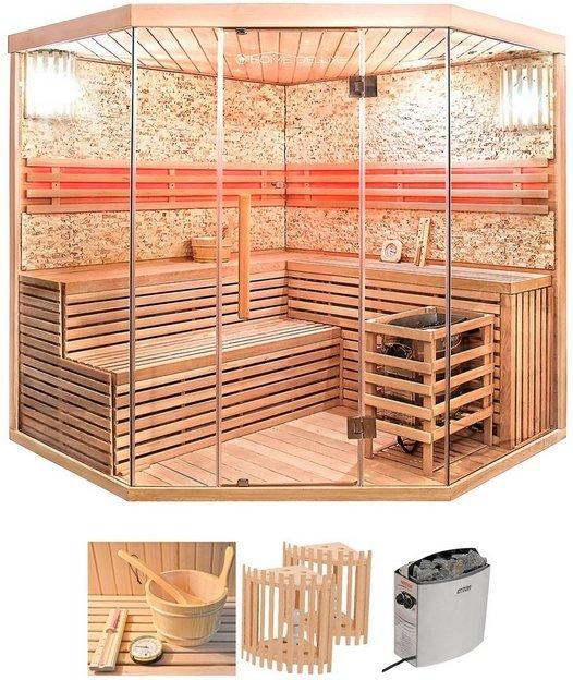 HOME DELUXE Set: Sauna »Skyline XL BIG«, 200/200/210 cm, 8 kW Ofen mit int. Steuerung
