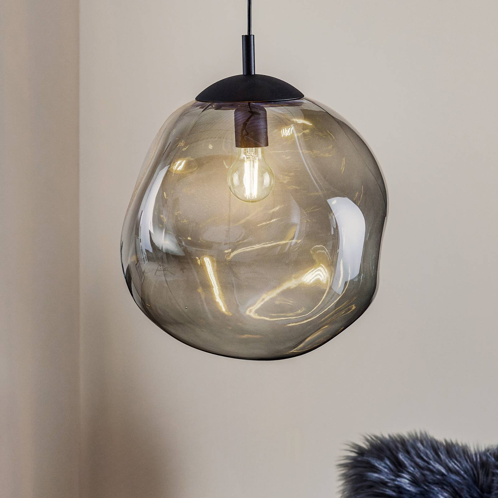 Sol glass hanging light  black graphite