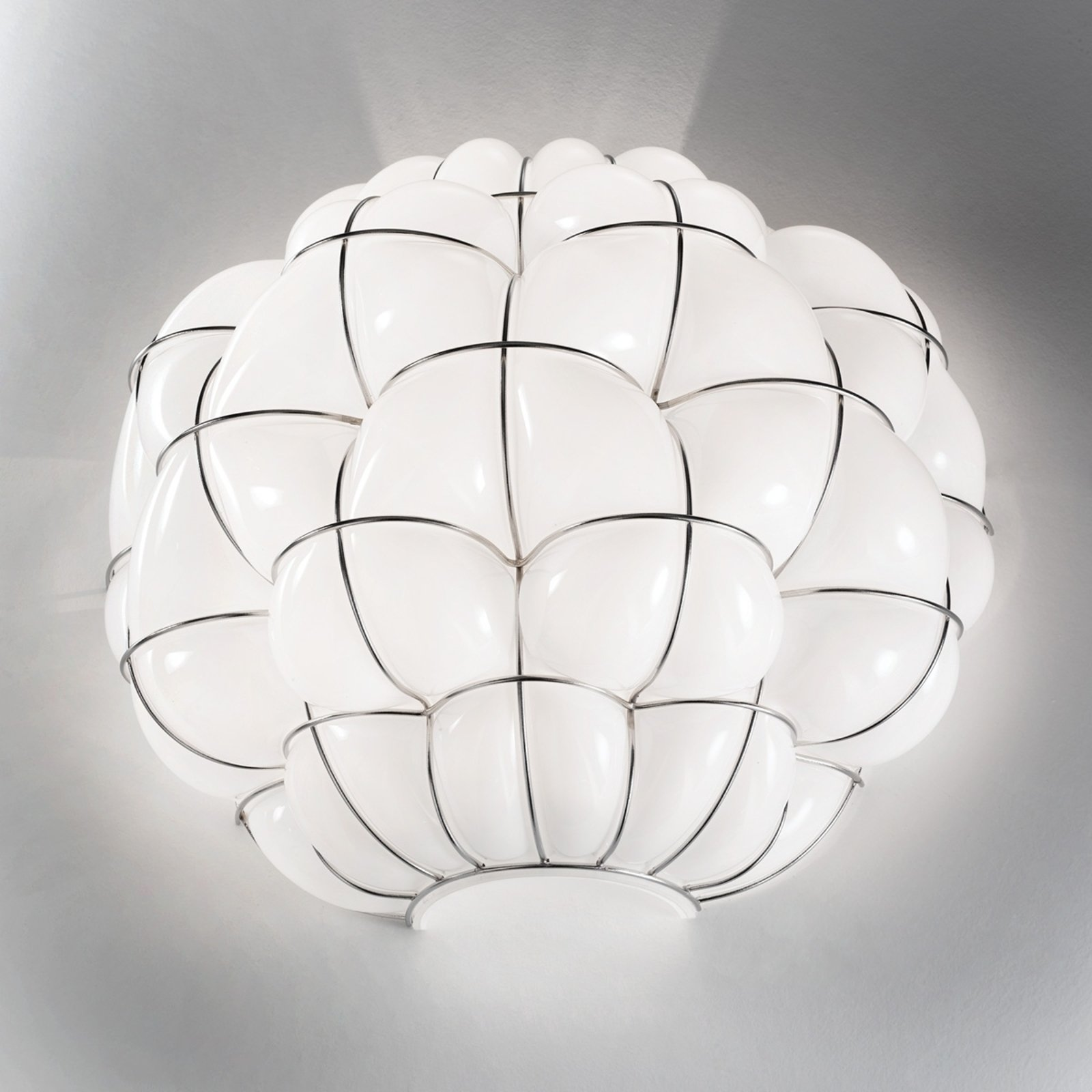 Pouff wall light in white and stainless steel