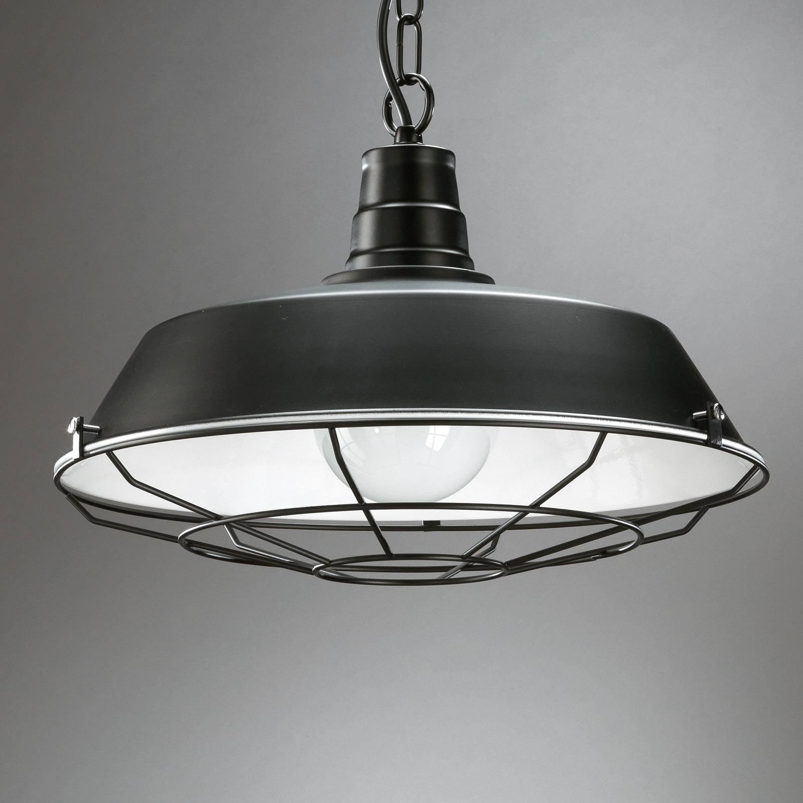 Grill hanging light  metal with lattice  black