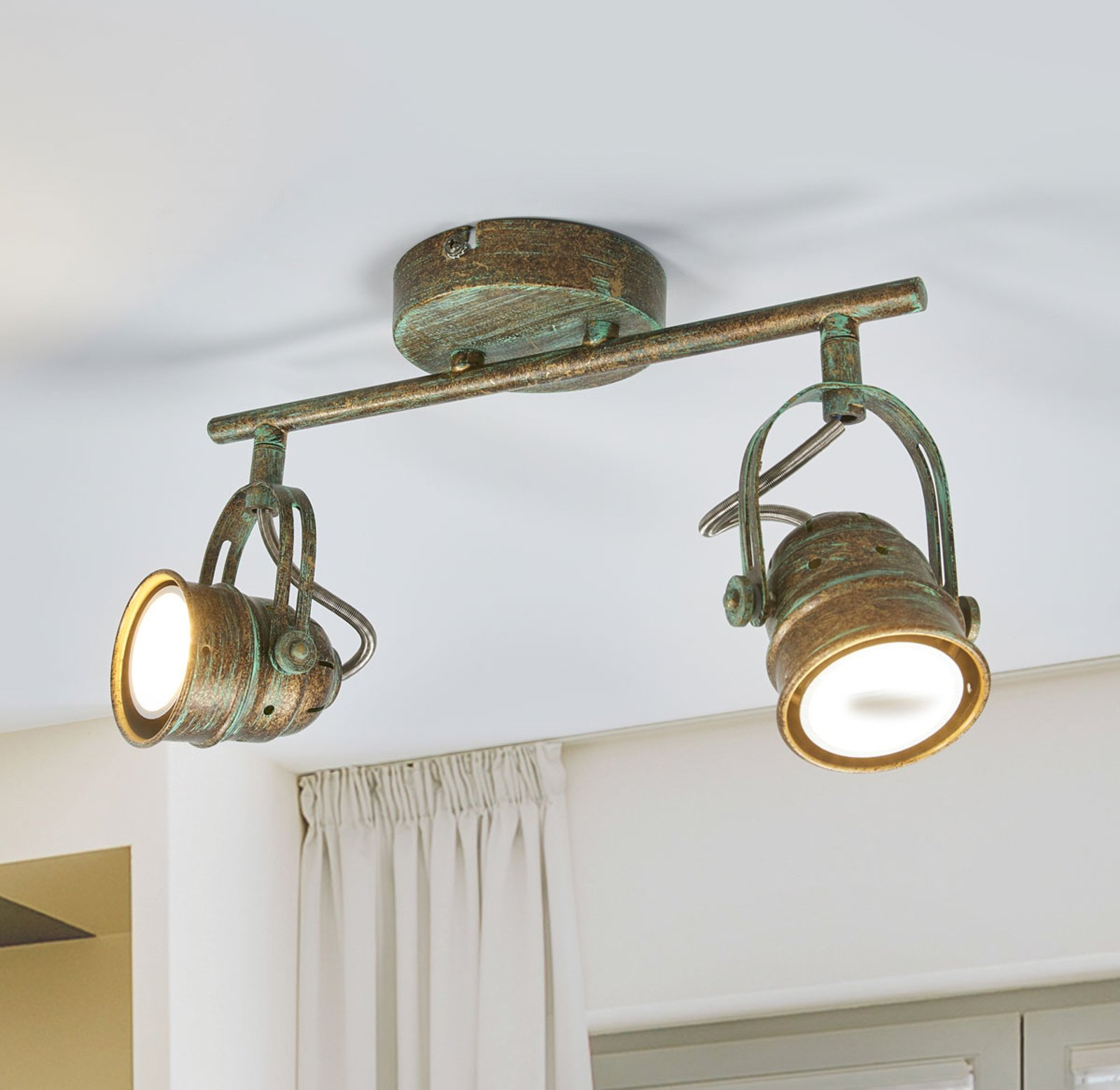 Two bulb LED spotlight Leonor in antique look