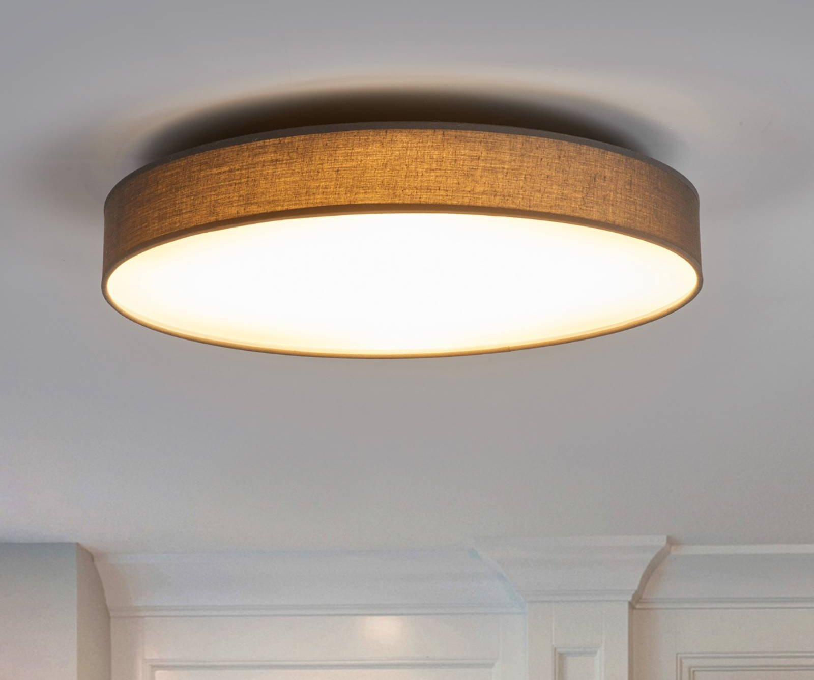 Fabric LED ceiling lamp Saira  50 cm  grey