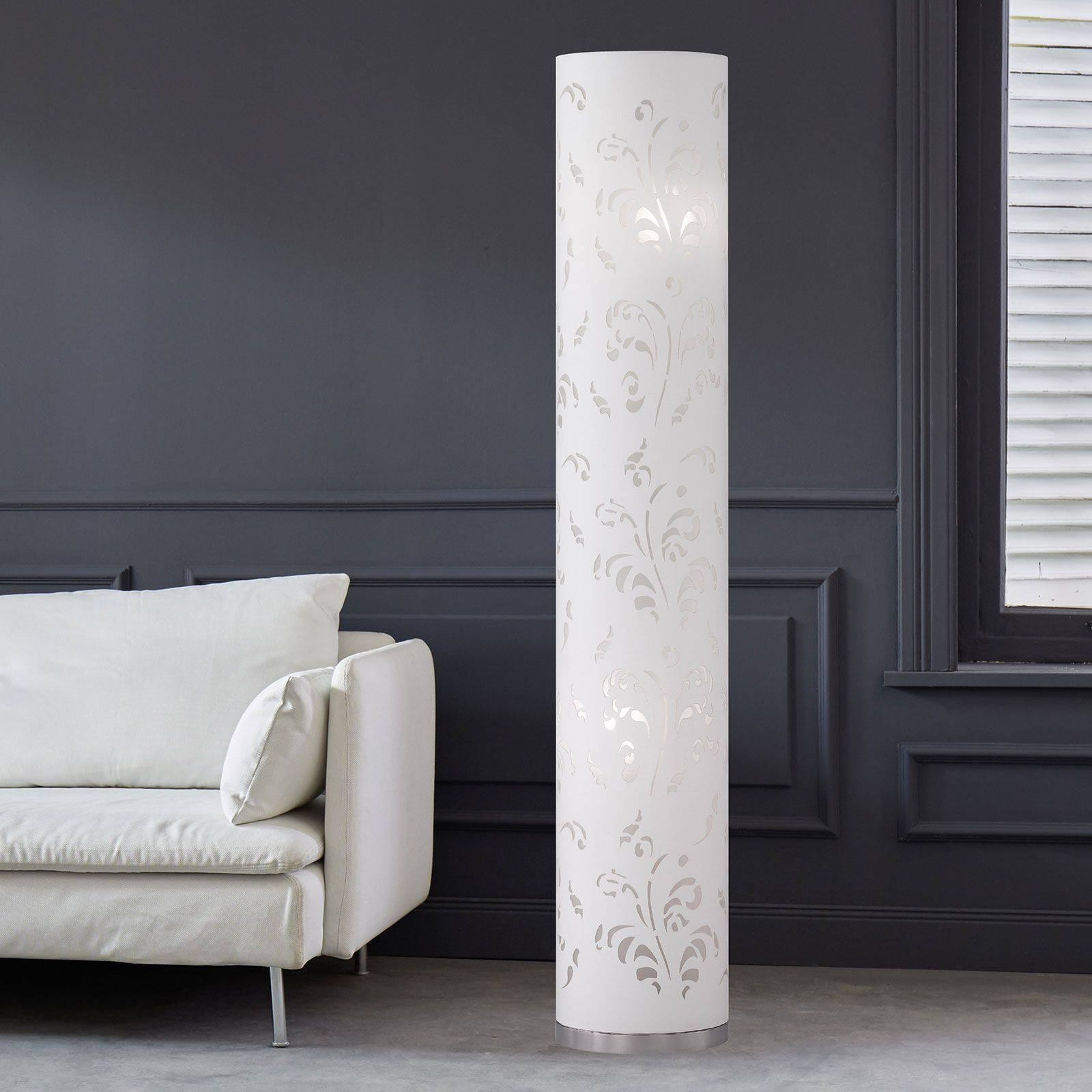 Flora slim floor lamp lampshade white with d cor