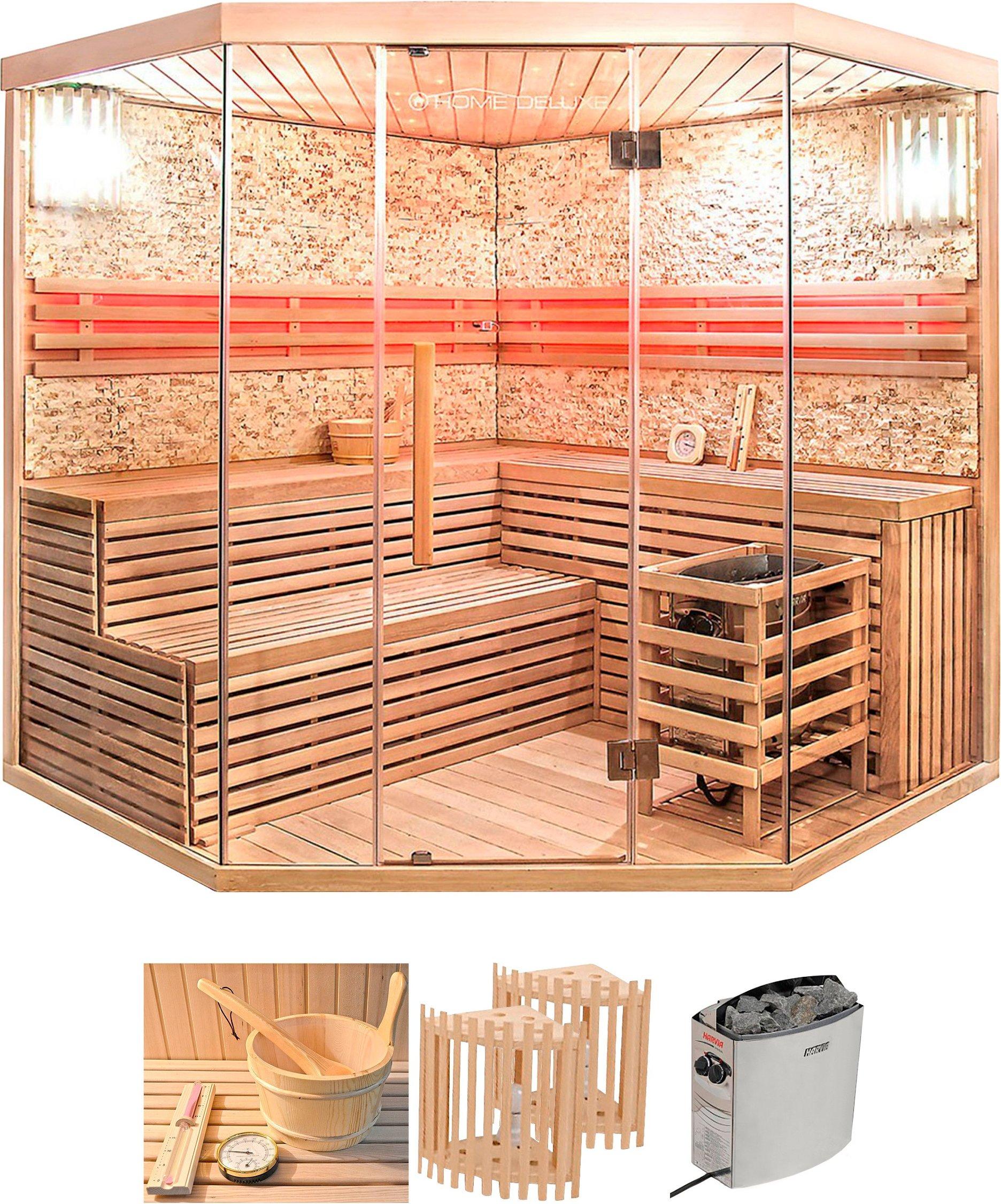 HOME DELUXE Set: Sauna Skyline XL BIG 200/200/210 cm 8 kW Ofen mit int Steuerung