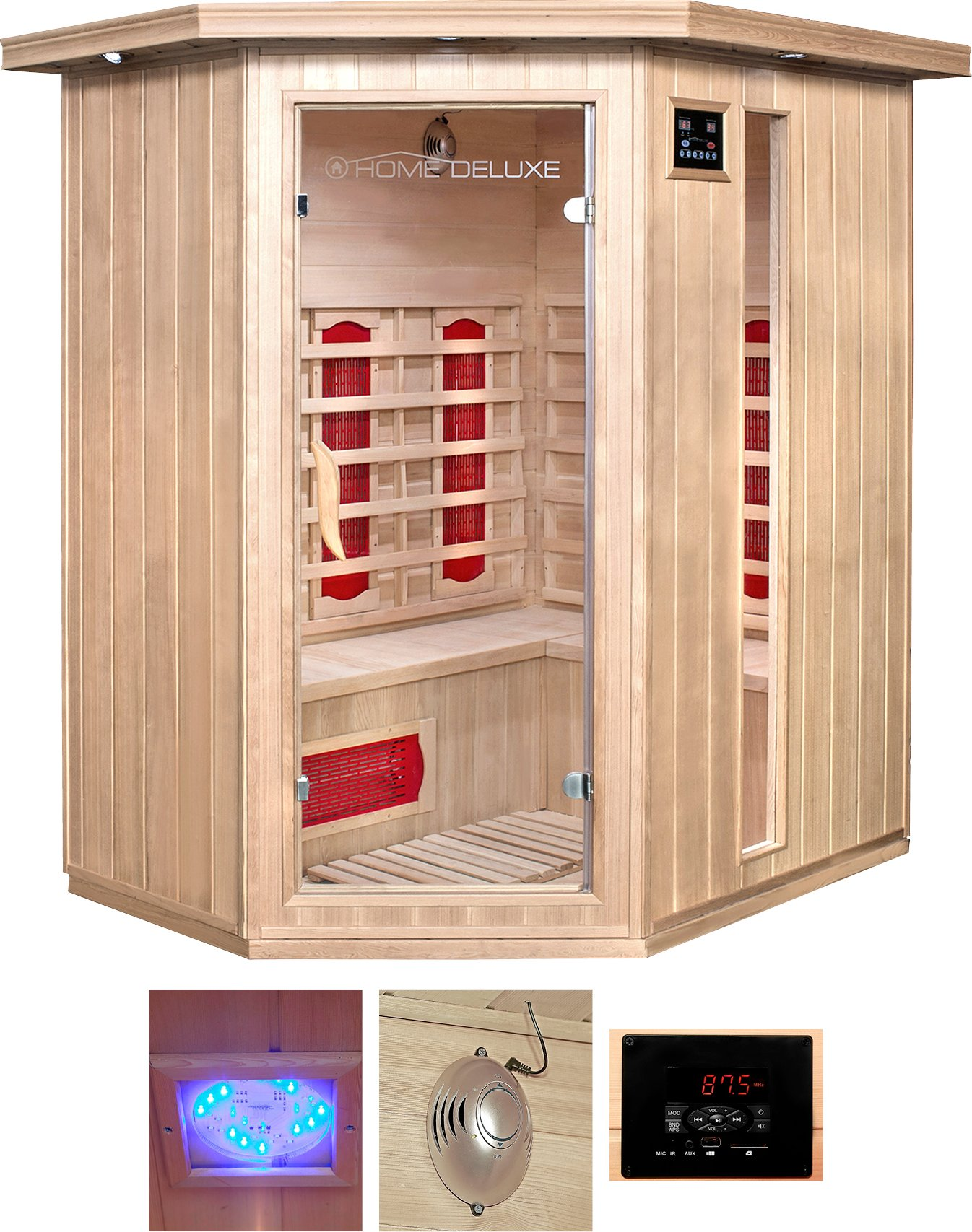 HOME DELUXE Infrarotkabine Redsun XL BxTxH: 155x120x190 cm für bis zu 3 Personen