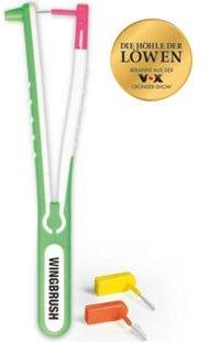 Wingbrush Interdentalbürste Starter-Kit 4-tlg. weiß/grün mit 3 Aufsätzen (XS, S, M/L)