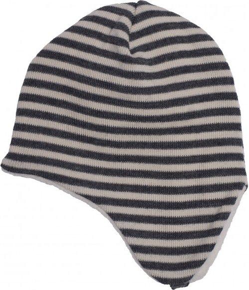 Reiff - Kid's Ohrenmütze Ringel Gr 50/52 grau/schwarz