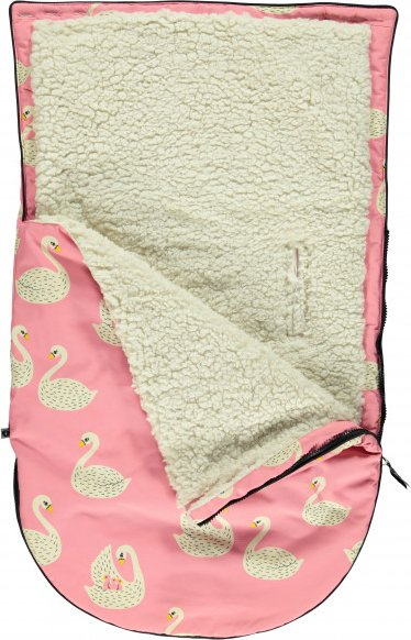 Smafolk - Kid's Small Sleeping Bag with Swans - Kinderschlafsack Gr 79 cm weiß/rosa/beige