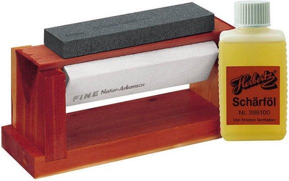 Herbertz - Holzblock mit 3 Abziehsteinen - Messer Gr 150 x 45 x 15 mm rot