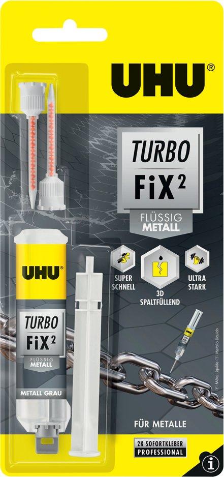 UHU 2-Komponenten-Klebstoff Turbo Fix Füssig Metall, 10 g