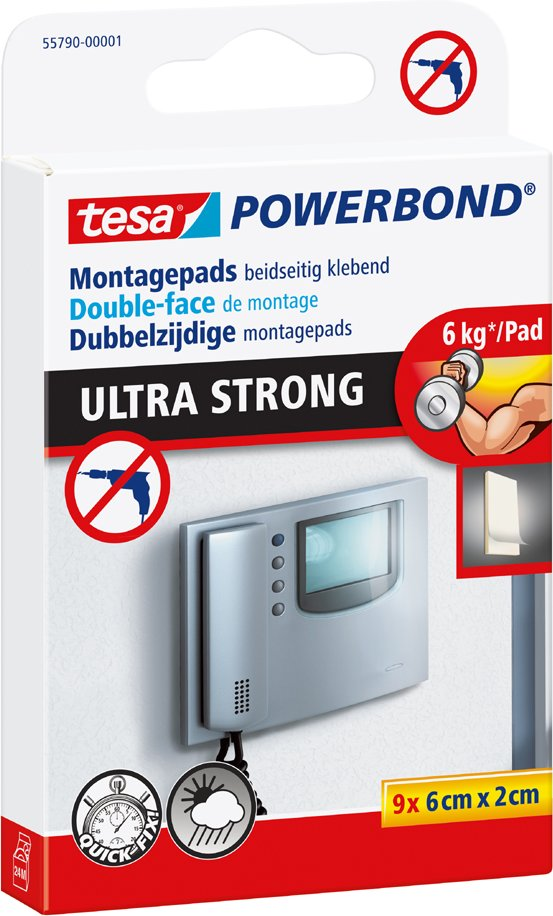 tesa Powerbond Montage-Klebepads, 20 mm x 60 mm