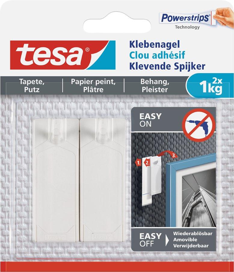tesa Powerstrips Klebenagel für Tapeten und Putz, 1,0 kg
