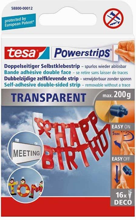 tesa Powerstrips Deco transparent 16 Stück