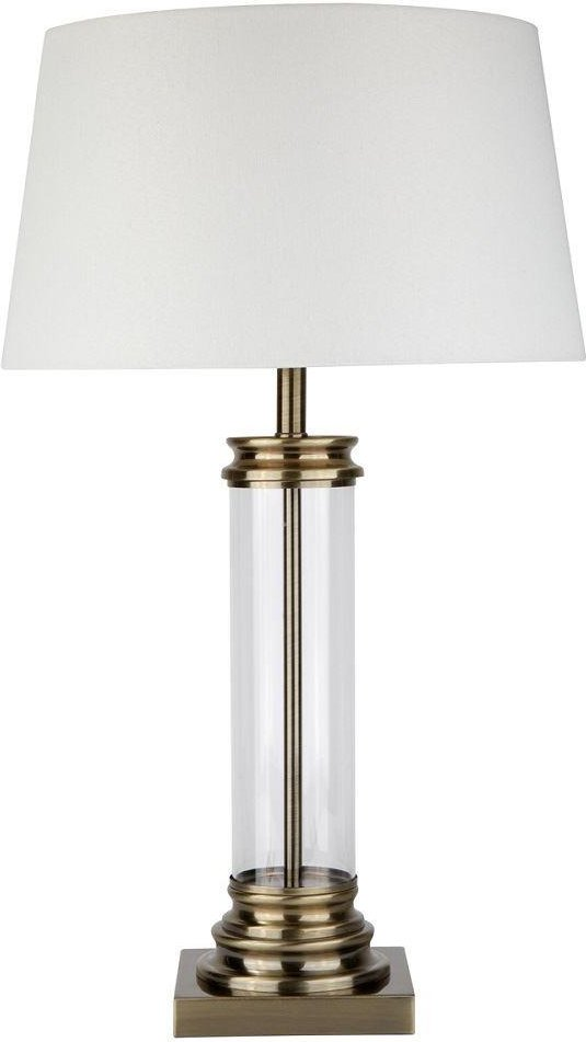 Searchlight 5141AB 1 Light Table Lamp With Glass Column And Antique Brass Base And Cream Shade