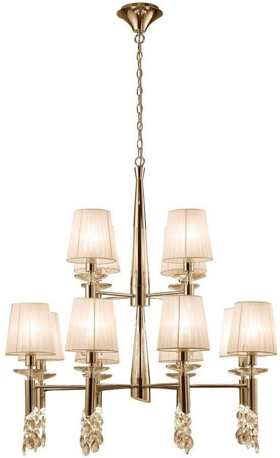 Mantra M3850FG Tiffany 12 12 Light Pendant Light In French Gold With Cream Shades
