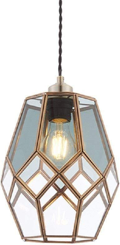 Endon 73296 Ripley Non Electric Shade In Antique Brass With Clear And Smoked Glass