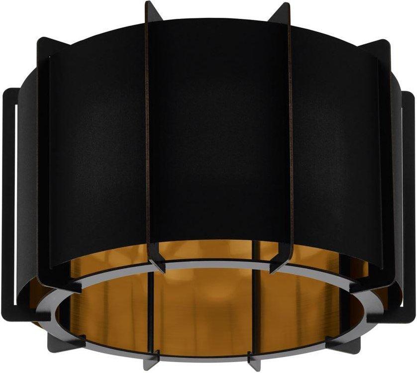 Eglo 98339 Pineta 1 Light Flush Ceiling Light In Black Steel And Black And Gold