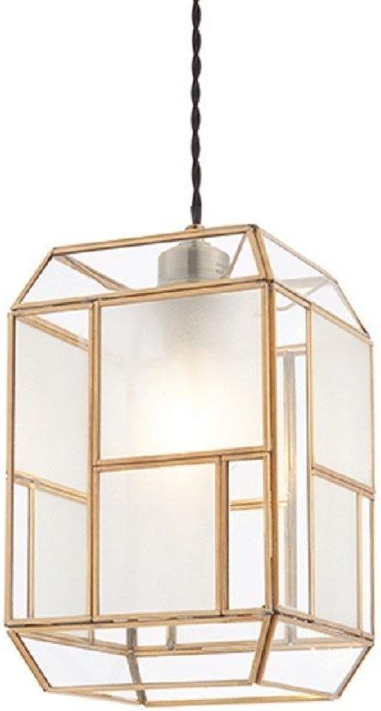 Endon 73300 Chatsworth Non Electric Shade In Solid Brass With Clear And Frosted Glass