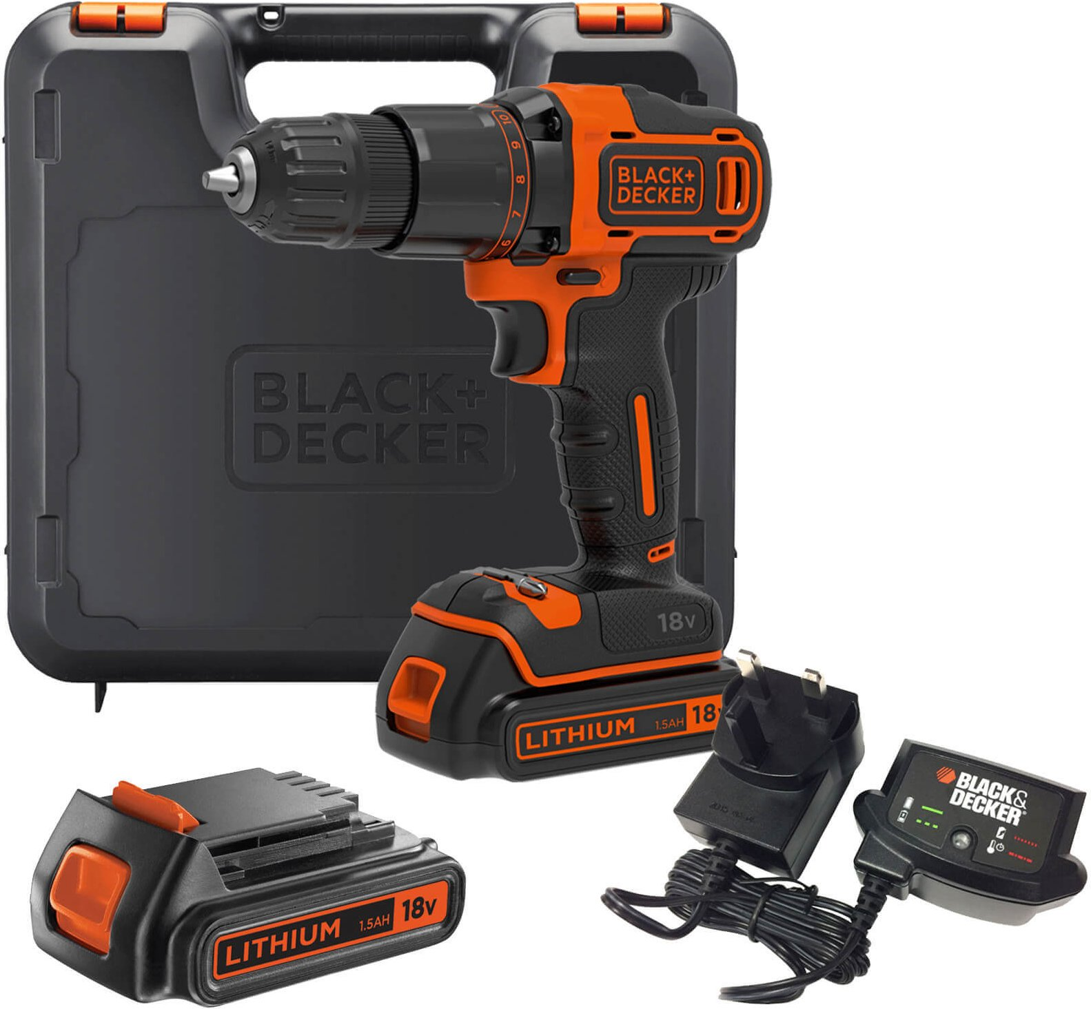 Black and Decker BCD700S 18v Cordless Combi Drill 2 x 1 5ah Li ion Charger Case