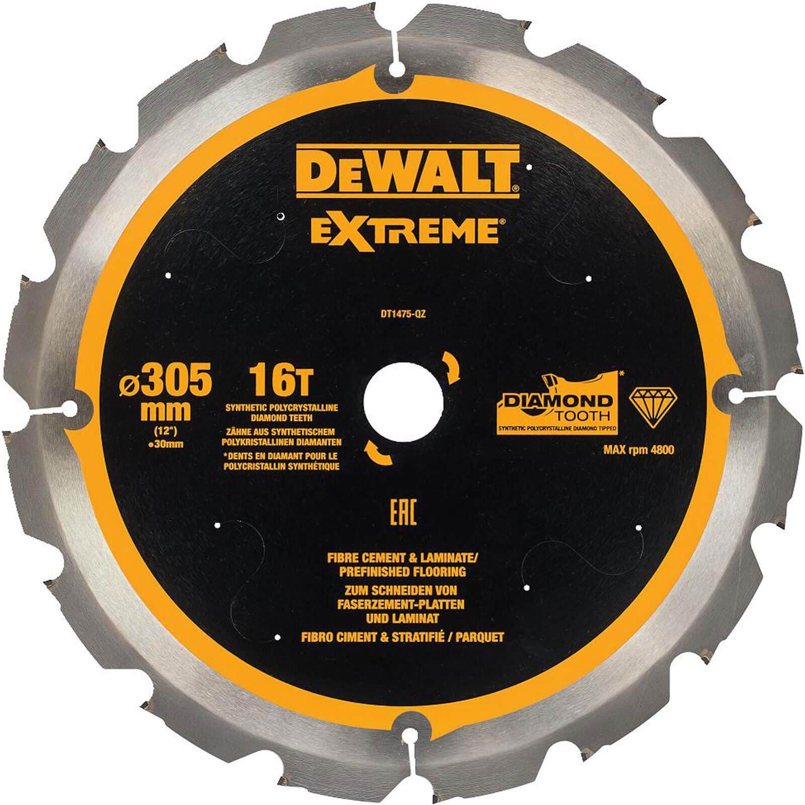 DeWalt PCD Fibre Cement Saw Blade 305mm 16T 30mm
