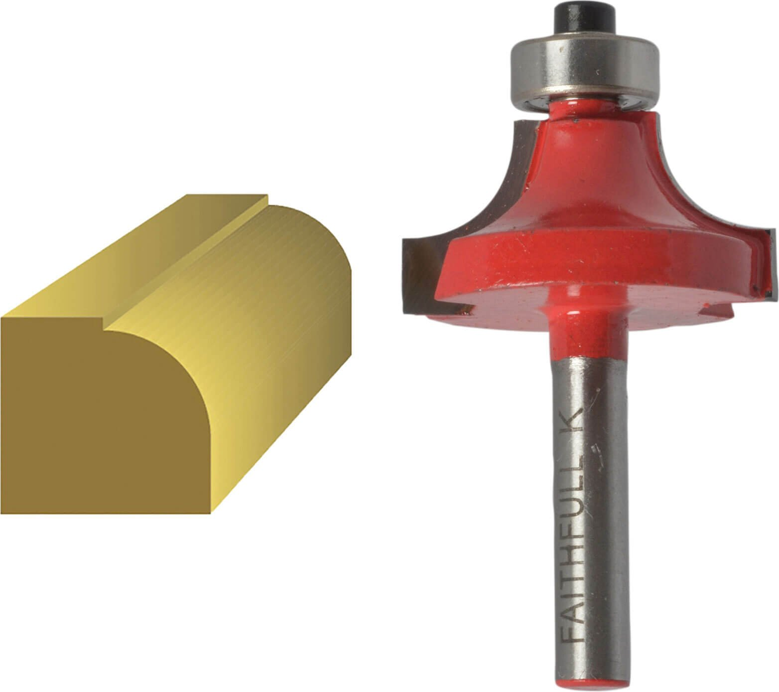 Faithfull Bearing Guided Rounding Over Ovolo Router Cutter 15 8mm 9 5mm 1 4