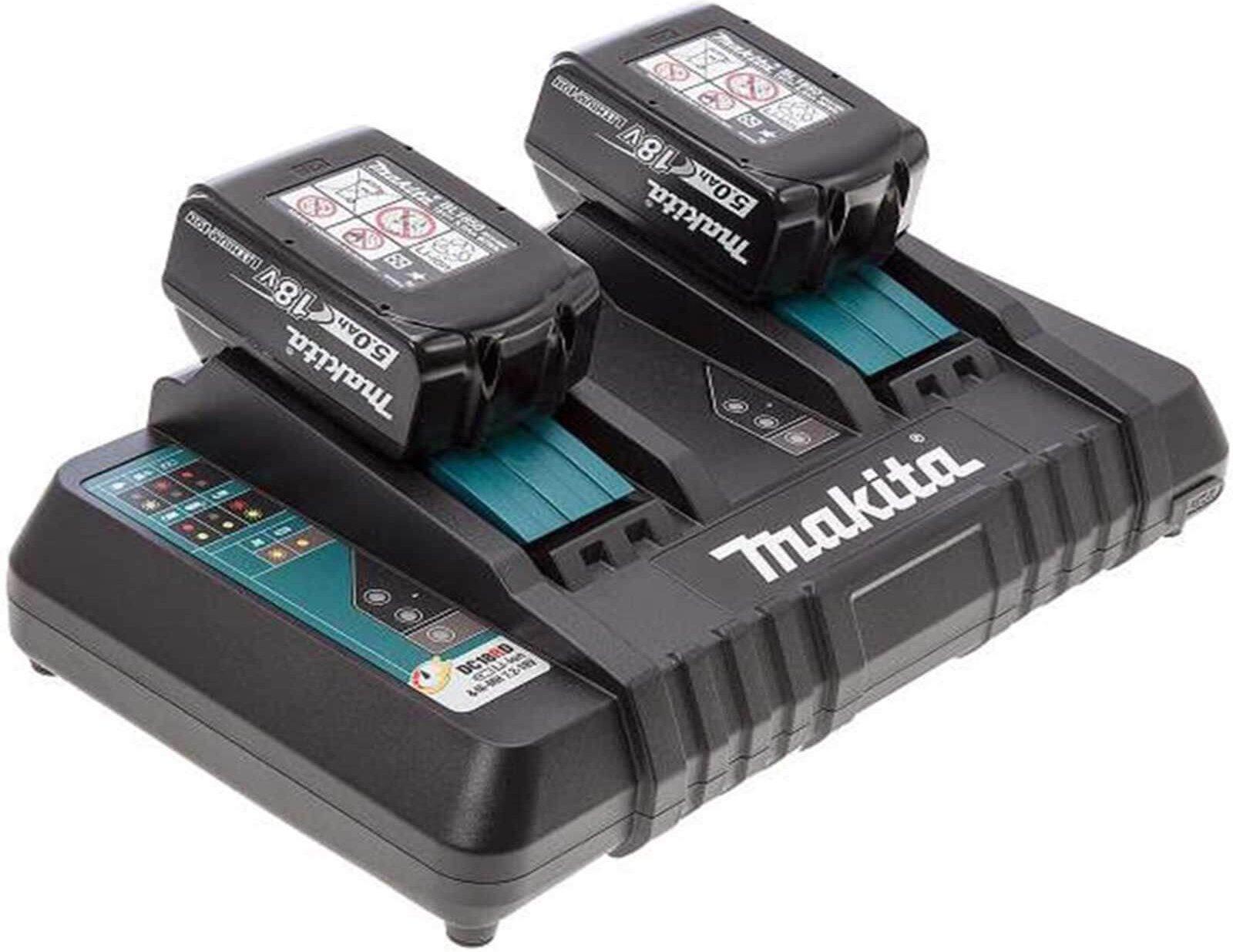 Makita DC18RD 18v Twin Charger and 2 Li ion Batteries 5ah