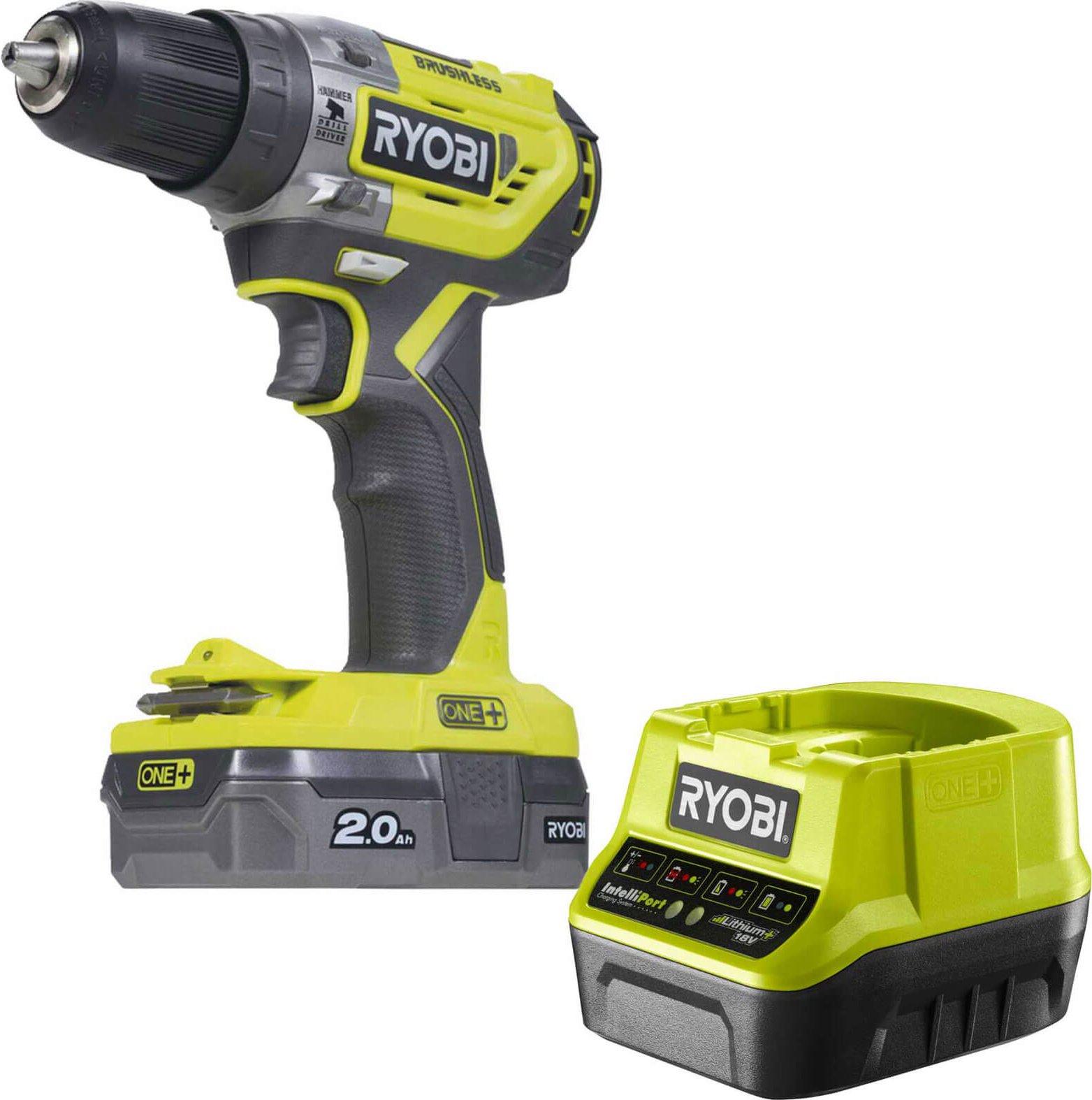 Ryobi R18PD5 ONE  18v Cordless Compact Brushless Combi Drill 1 x 2ah Li ion Charger No Case