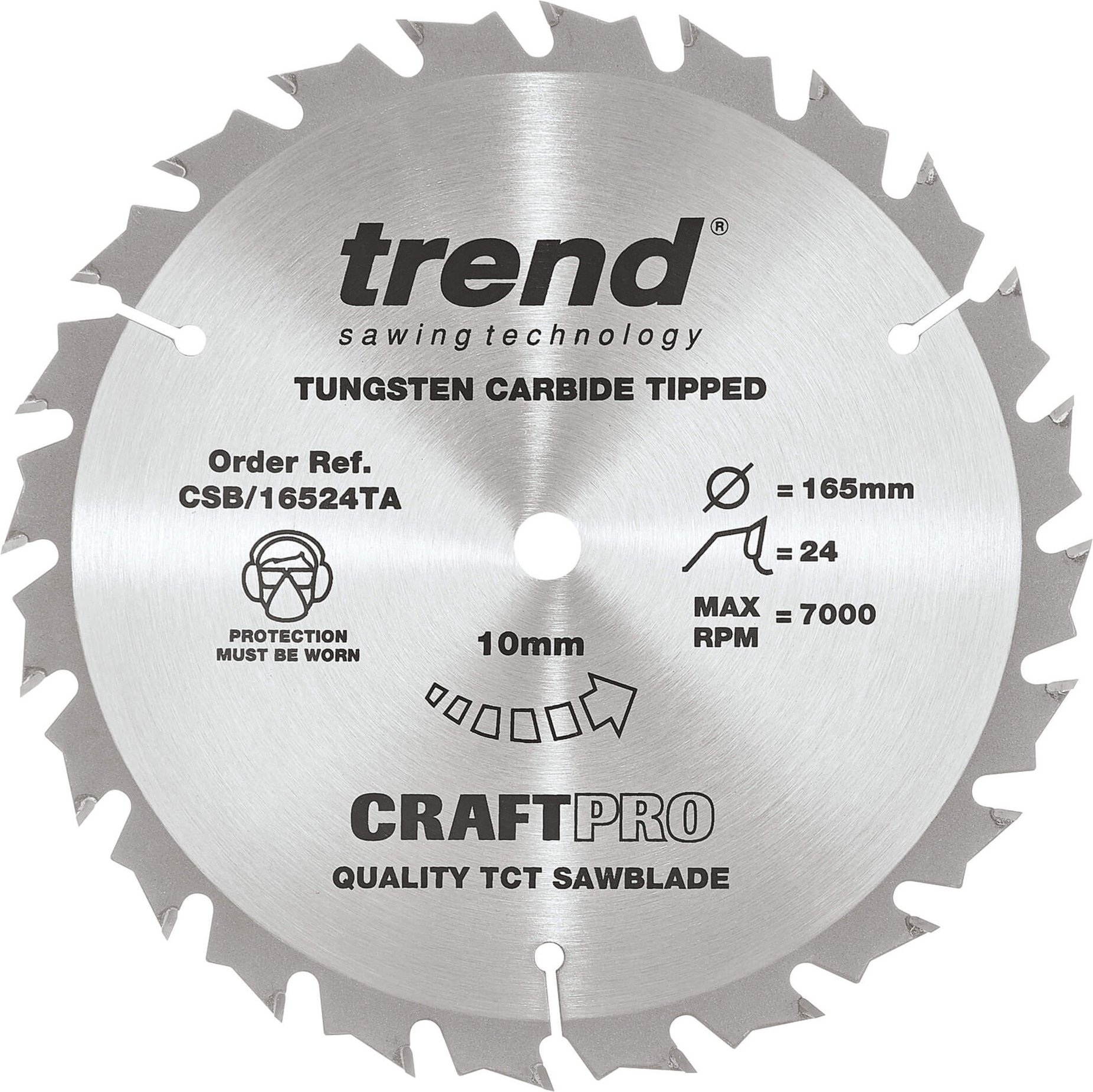 Trend CRAFTPRO Wood Cutting Cordless Saw Blade 165mm 24T 10mm