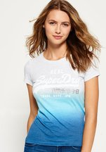 T-shirt Blu donna T-shirt con logo Vintage effetto dip-dye
