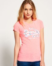 T-shirt Rosa donna T-shirt traforata con fiori di ibisco Vintage Logo