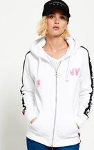 Felpa Bianco donna Felpa con cappuccio e zip Sport Code Raglan