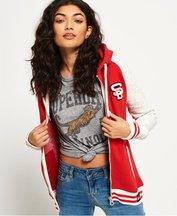 Felpa Rosso donna Felpa con cappuccio e zip College Patch
