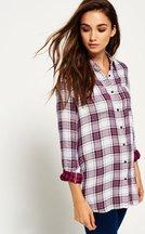 Camicia Rosa donna Camicia a quadri in tessuto doppio