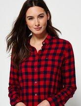 Camicia Rosso donna Camicia corta con motivo quadrettato