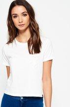 T-shirt Bianco donna T-shirt corta con taschino in pizzo