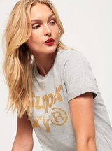 T-shirt Grigio Chiaro donna T-shirt Rhinestone Boxy