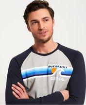 T-shirt Grigio Chiaro uomo T-Shirt Surf Co Stripe Raglan