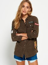 Camicia Verde donna Camicia Patched Military