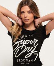 T-shirt Nero donna T-shirt a righe effetto dévoré NYC