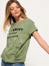 T-shirt Verde donna T-shirt con nodo Splatter
