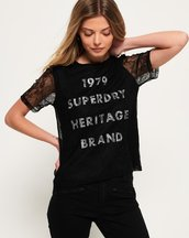 T-shirt Nero donna T-shirt Lace Graphic