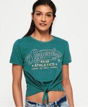 T-shirt Verde donna T-shirt annodata sul davanti Athletics