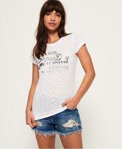 T-shirt Bianco donna T-shirt effetto dévoré con logo Vintage