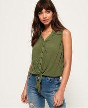 Camicia Verde donna Camicia annodata sul davanti Isabella