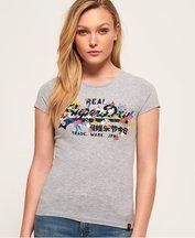 T-shirt Grigio Chiaro donna T-shirt con logo vintage e ricamo a rilievo