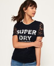 T-shirt Navy donna T-shirt Elsworth Lace Graphic